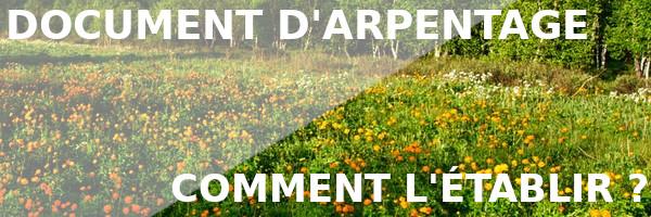 établir document arpentage